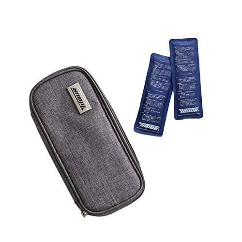Value Sky Diabetikertasche, Insulin Kühltasch für Medikamente Diabetes Spritzen und Insulininjektion mit 2 Kühlakkus Medizinische Kühltasche, 21 cm * 10 cm * 4.5 cm, YDS-80084 (Grau)