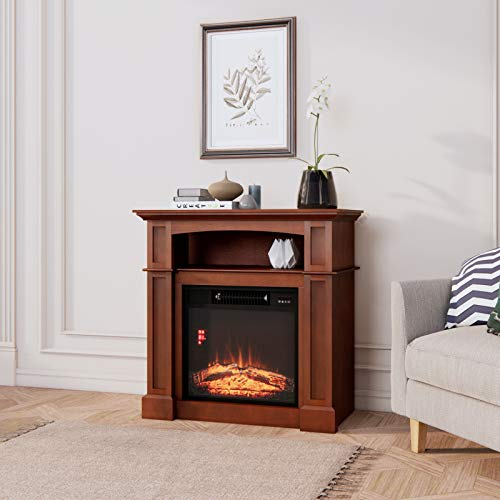 Aoxun Wooden Mantel Electric Fireplace with Storage / 31'' Freestanding Electric Fireplace Heater 1500W with Remote