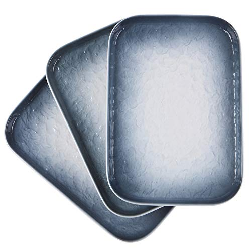 Eglaf 10'' x 7'' Ceramic Platters - Rectangular Embossed Gradient Water Wave Texture Appetizer Plates - Party Porcelain Serving Trays for Dishes Decoration, Entertain Guests (Set of 3 - Gray)