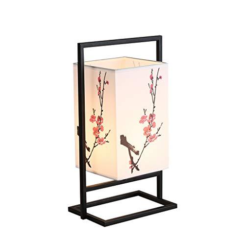 LZG Lámpara de mesita de Noche para Dormitorio japonés, lámpara de Mesa asiática con Marco de Metal Negro, Pantalla de Tela cuboide con patrón de Flor de Ciruela, Interruptor de Encendido/Apagado