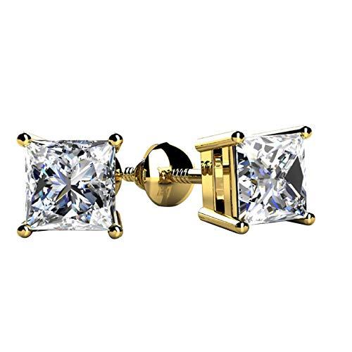 SLV Pendientes de tuerca con forma cuadrada de diamante D/VVS1 de 0,25 quilates, corte princesa, plata chapada en oro de 14 quilates