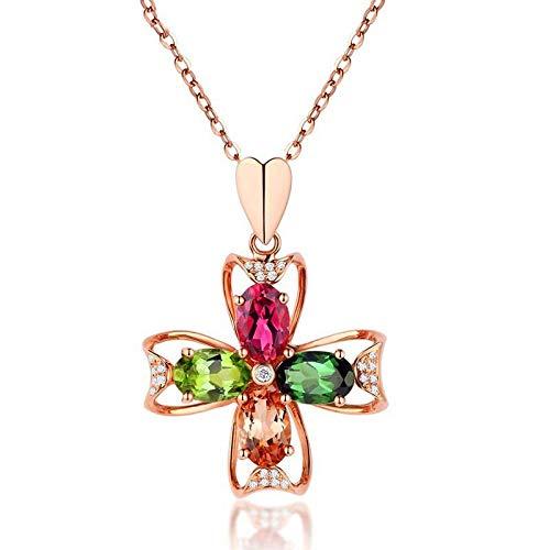 Collar con colgante de plata S925 para mujer con colgante de flor y piedra de colores oro rosa de 18 quilates