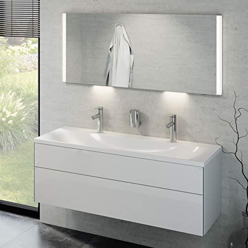 Keuco Badmöbelset mit Waschtisch, Waschbeckenunterschrank mit Frontauszug Hochglanz-weiß, LED Spiegel dimmbar, Badezimmermöbel Set, Badschrank mit Waschbecken, Breite 130 cm Royal Reflex