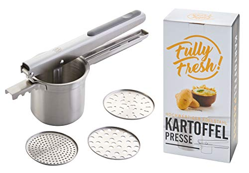 Fully Fresh! | Premium Spätzle-/Kartoffelpresse aus Edelstahl (3 Siebeinsätze zum Einklicken u.a. für Spaghettieis), rostfrei & spülmaschinenfest | Designed in Germany