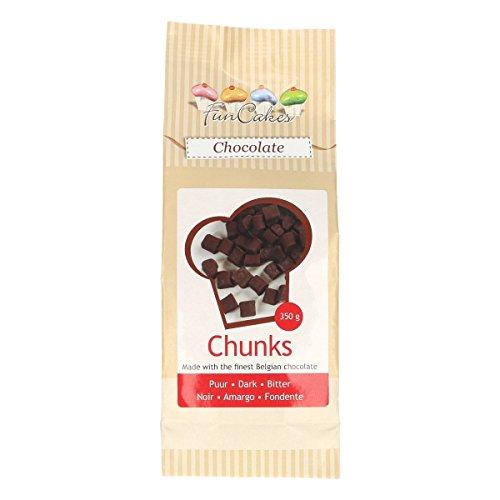 FunCakes Chocolate Chunks Dark, Deliciosas Chips de Chocolate para Añadir a los Pasteles, Cupcakes, Muffins o Galletas, Hechos de Auténtico Chocolate Belga, Halal. 350 g