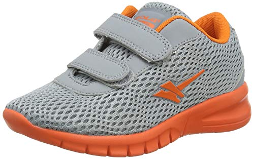 Gola Beta 2 Velcro, Zapatillas Deportivas para Interior para Niños, Gris (Grey/Orange Gu), 24 EU