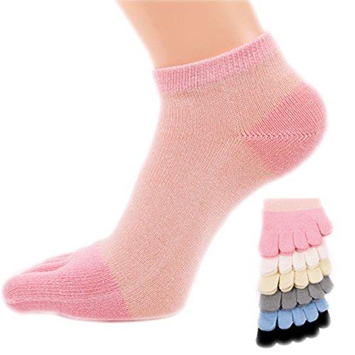 Atmungsaktiv Zehen Socken 6 Paar Socken Laufen Fünf Finger Mannschaftssocken für Frauen