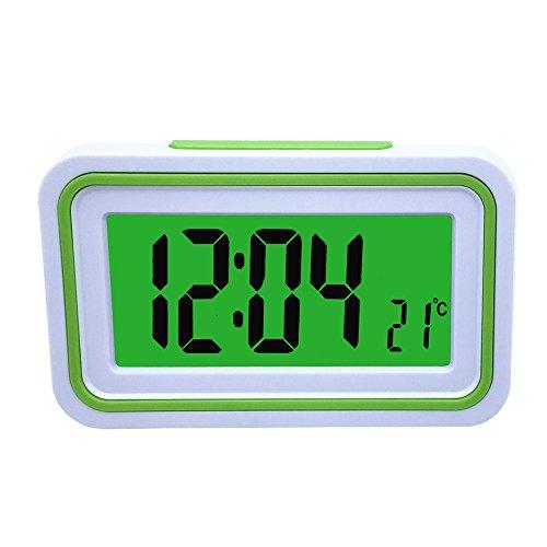 Reloj Despertador Parlante en Español, Alarma LCD con Voz, Reloj Hablando (Blanco y Verde)