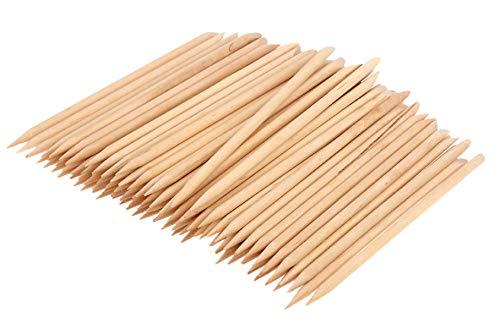 PROFICO 15 Stück Holzstäbchen | Orange Holz Sticks | Nagelhautschieber für Maniküre Pediküre | Manikürstäbchen Nagelhautpflege
