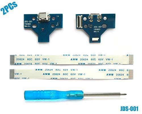 2PCs JDS-001 USB Ladebuchse mit Flexkabel für PS4 Controller, Replacement Anschluss Platine Adapter, Reparatur Part Ladegerät Module Port, Battery Charging Board für Playstation DualShock