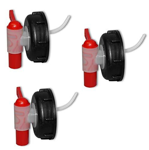 Wilai Lote de 3 Grifos aeroflow para bidón con Apertura DIN 71, HDPE Calidad alimentaria (3x22045)