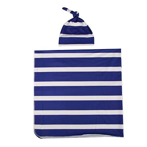 Baby Wickeldecke Neugeborene Erhalten Decke Gestreifte Schlafverpackung mit Hut