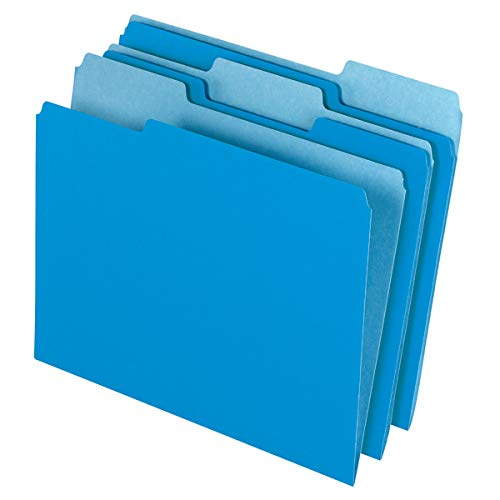 Office Depot File Folders, Letter, 1/3 Cut, Blue, Box of 100, 97661