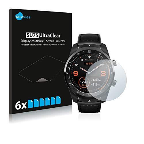 Savvies 6X Schutzfolie kompatibel mit Mobvoi Ticwatch Pro / C2 / E2 Bildschirmschutz-Folie Ultra-transparent