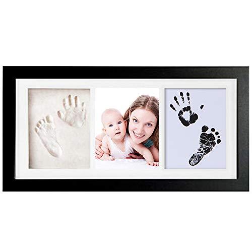 feihao Kit de Recuerdo de Huella de Huella de bebé - Marcos de Kit de Arte de Memoria para bebé recién Nacido–Marcos de Fotos para bebé -Sets de Modelado e impresión (Negro)