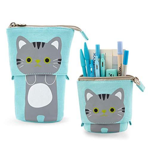Estuche de lona para lápices, estuche para lápices de dibujos animados con cremallera, bolsa de cosméticos, color Azul-gato 12x8cm(Fold)12x17cm(Open)