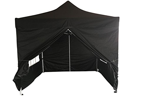 EazyGoods 3 x 3 m Heavy Duty Pop-Up Pyramid Roof Waterproof Gazebo Tent Marquee with Wind Bar and Sidewalls, Black,