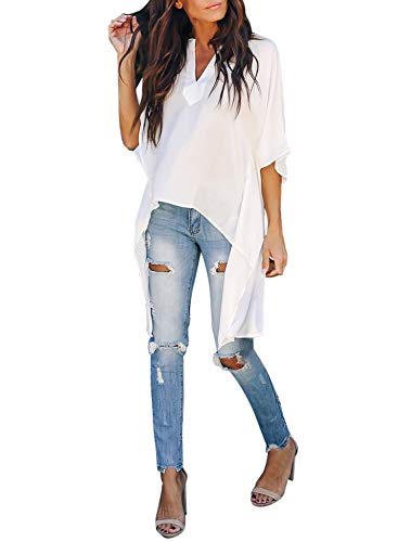 Asvivid Womens V Neck Bell Sleeve Asymmetrical High Low Tunic Tops Summer Chiffon Blouse Ladies Flowy Tops S White