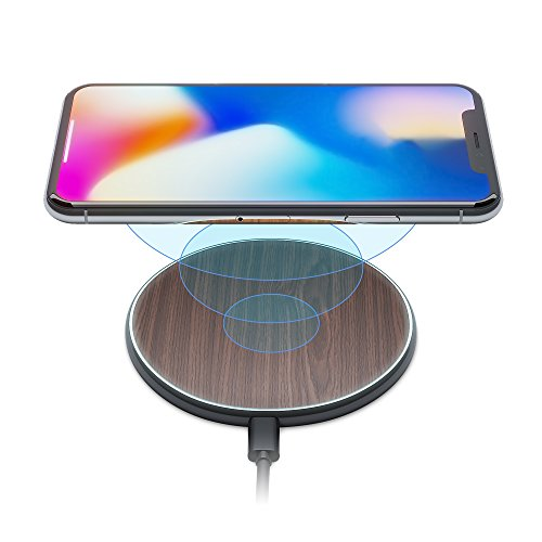 iPhone X 8 Qi Best Wireless Charger Pad Kit by Wuteku New 2019 Upgraded - Stylish Natural Bamboo Wood Look Thin Slim Design - Compatible Samsung and Apple Enabled Devices - Sleep Charging Friendly DB