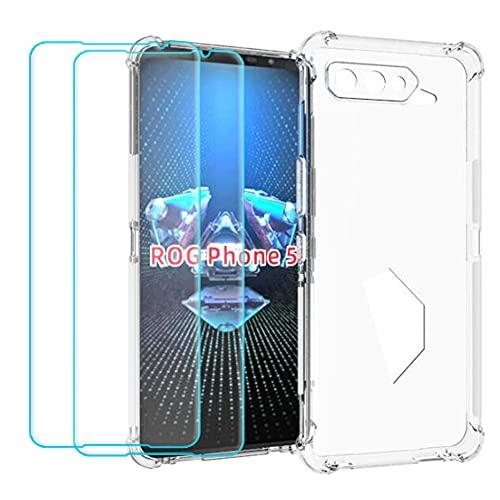 Ytaland Crystal Clear Hülle für Asus ROG Phone 5, Mit 2 x Panzerglas Schutzfolie,Klar Weich Durchsichtig Dünn Silikon Handyhülle Stoßfest Fallschutz Bumper Hülle Cover