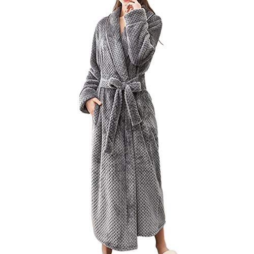 VJGOAL Invierno de Las Mujeres Caliente Espesar Abrigo Bata Albornoz Ropa para el hogar Mantón de Manga Larga con Cordones Bata de túnica(Medium,Gris)