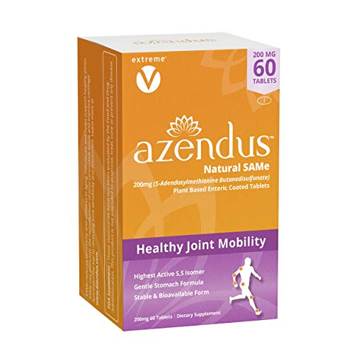 Azendus SAM-e Joint Support 200mg, 60 Count, Same Butanedisulfonate Fiber Enteric Coated Tablets, Physician Trusted, #1 Recommended Active Form