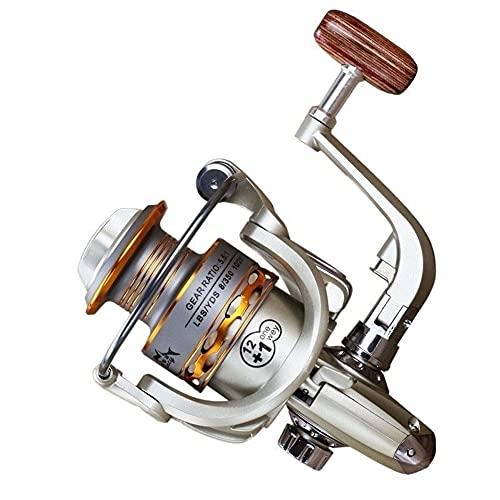 HZPXSB Pesca Bobina de apretón de Manos de Madera 12 + 1BB la Pesca de Giro del Metal del Carrete Profesional de la Mano Izquierda/Derecha Carrete de la Pesca Ruedas (Spool Capacity : 4000 Series)