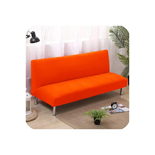 Stretch Sofa Bed Cover Full Folding Armless Elastic Futon Slipcover Couch Cover Sofa Tight Wrap Sofa Covers for Home,Orange,150-185cm