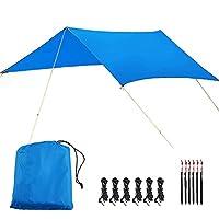 EPER 超軽量サンシェルターキャンプ防水オーニングタープテントハンモック雨フライキャンプサンシェード UV 耐性コーティング (Color : Blue, Size : 3*3M)