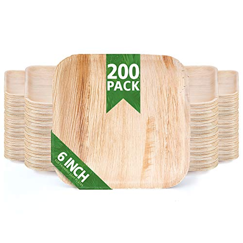 200 Pack of 6' Square Disposable Palm Leaf Plates Set - Sturdy & Elegant - Camping Party Home Use - Biodegradable & Compostable - by Eko Future