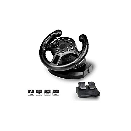WSMLA Force motrice Roue for 2 Roues, Double Vibration Mini Racing Wheel Compatible avec PS3 / PC
