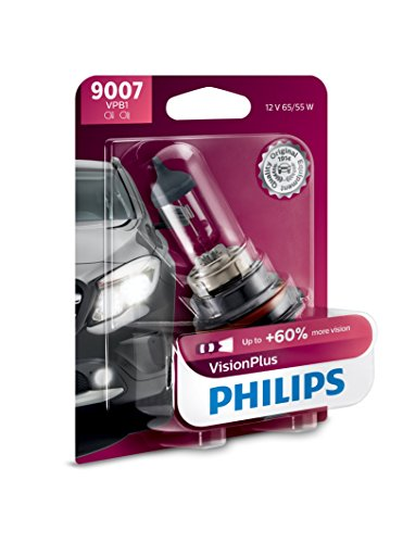 Philips 9007 VisionPlus Upgrade Headlight Bulb with up to 60% More Vision, 1 Pack