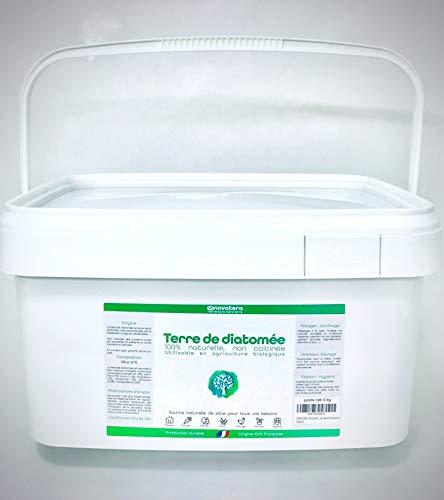 NOVATERA Terre de Diatomée 100% Naturelle - 5 kg - Garantie Origine France - Ultrapure - Formats 0,3 à 12 kg - Protection écologique - ECOCERT Utilisable Agriculture Biologique