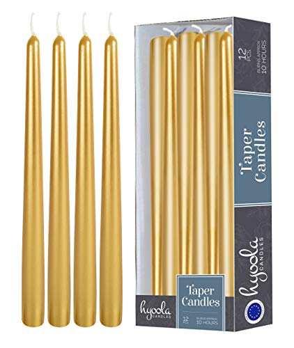 12 Pack Tall Metallic Taper Candles - 12 Inch Gold Painted Metallic, Dripless, Unscented Dinner Candle - Paraffin Wax with Cotton Wicks - Individually Wrapped -by Hyoola