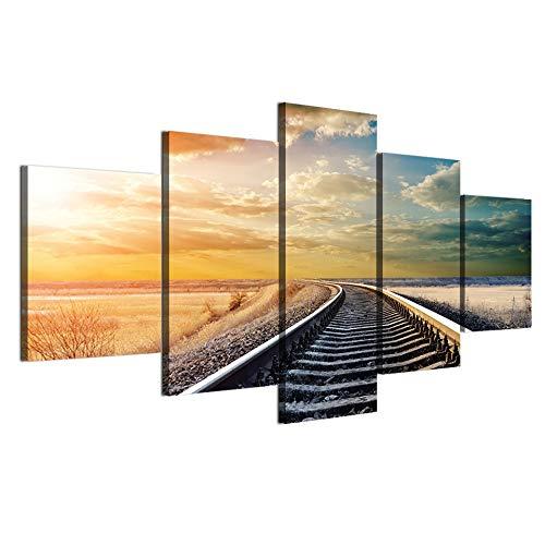 FGVBWE4R Moderne Leinwand Bilder HD Gedruckt Wandkunst Rahmen 5 Stücke Eisenbahn über AST Plains Sonnenuntergang Landschaft Wohnkultur Gemälde Poster-XXL