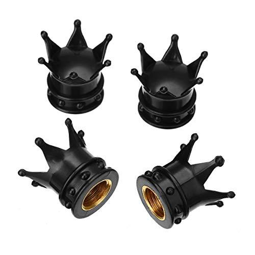 Tapones guardapolvos para válvulas de neumáticos, Rueda 4pcs corona de aluminio del coche de válvula del neumático de aire del neumático del casquillo del vástago de guardapolvos for el carro del coch