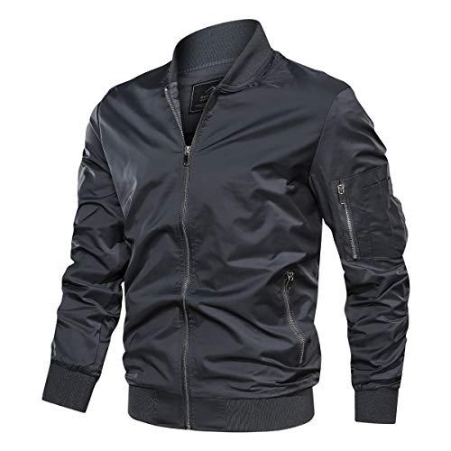 TACVASEN Men's Jacket-Slim Fit Casual Classic Thin Full Zip Spring Jacket, Dark Grey L