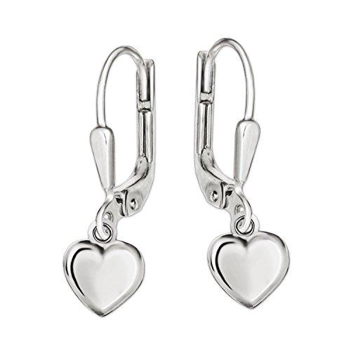 Clever Schmuck Silberne Mädchen Ohrringe als Ohrhänger 21 mm lang mit Mini Herz 5 mm beidseitig plastisch gewölbt und glänzend STERLING SILBER 925 im Etui rosa