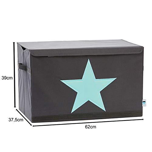 STORE IT - Spielzeugtruhe für Kinder - Truhe mit Deckel - Große Aufbewahrungsbox, Spielzeugkiste für das Kinderzimmer - 62x37,5x39cm - grau/ mintgrün - STERN - 2