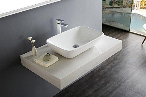 Bernstein Badshop Aufsatzbecken Aufsatz-Waschbecken NT3155 Keramik Aufsatz-Waschbecken in Weiß - 52x38cm