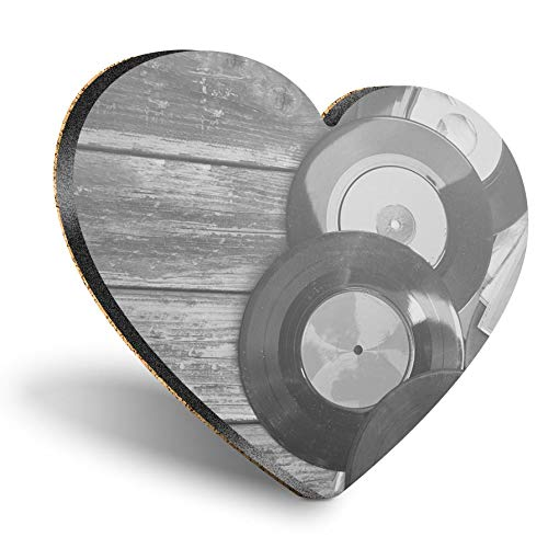 Posavasos de MDF con forma de corazón – BW – Vintage Retro Music Vinyl | Posavasos de calidad brillante | Protección de mesa para cualquier tipo de mesa #36137