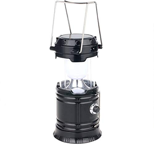 Solar Lantern: Camping Rechargeable LED Outdoor Lamp Flashlight Brightest Hanging Camp Pop Up Powered Best Collapsible Emergency Light with Battery Built In Phone Charger Black Power Outage Lights