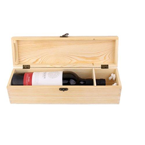 H HILABEE Caja de Madera para Una Sola Botella de Vino, Caja Artesanal, Regalo de Fiesta de Cumpleaños de Navidad