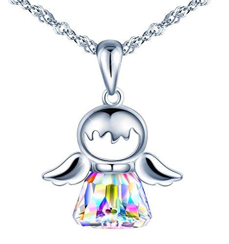 SIXLUO Damen Frauen Mädchen Allergenfrei 925 Sterling Silber Leerengel Anhänger mit Kristall 45CM Kettenlänge Halskette Verpackung von Geschenkbox Grußkarte