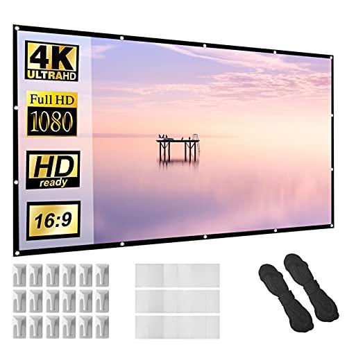 Écran de projecteur 150 pouces 16: 9 HD Pliable Anti-froissement Écran de projection portable pour cinéma maison Support intérieur extérieur Rideau de film à projection double face