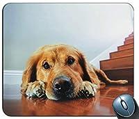 愛らしいラブラドールマウスマット滑り防止防傷に長持ちするパッド-ゴールデンレトリバー子犬ギフトPCコンピューター