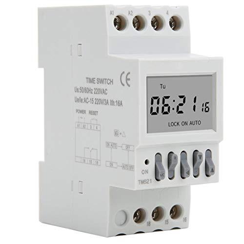 Jeanoko Función de Cuenta Regresiva Temporizador de Carril DIN Interruptores de Temporizador AC220V Durable Temporizador Digital TM621 Pantalla Grande 16 en 16 apagados para Luces de Calle
