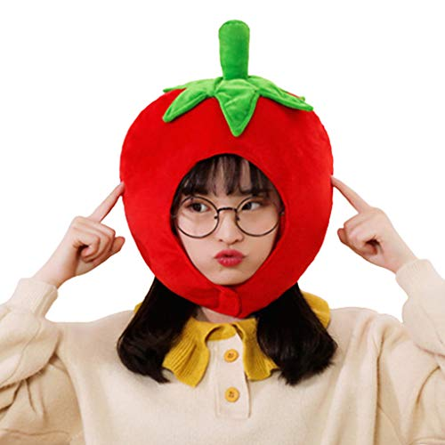 GREEN&RARE Bonito sombrero de felpa de forma de tomate para niños adultos, juguetes de peluche de frutas divertidas, gorro de orejera caliente para el rendimiento Cosplay Party Photo Props