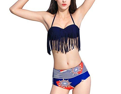 SunIfSnow Bikini - Maillot Deux pièces - Slogan - sans Manche - Fille Bleu Noir foncé