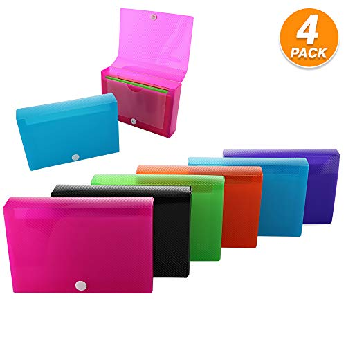 3' X 5' Index Card Case Holds 100 Cards Includes Business Card/Index Holder and 5 Tab Dividers with Sticker Tabs Comes in Assorted Color – (Pack of 4) by (Emraw)